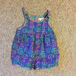 Gymboree Floral one piece Romper with bows-NWOT